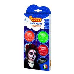 Ansiktsfärg HALLOWEEN Kit 6 burkar 8ml med borste och 2 skedar