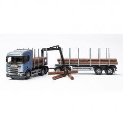 Scania Blå R450 Timmerbil och kran, Emek