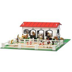 Micki Stall med paddock för leksakshästar