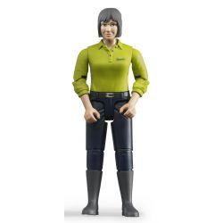 Bruder figur kvinna med svarta byxor och grön tröja