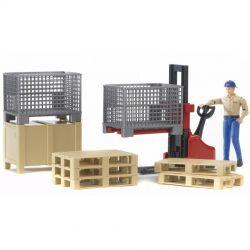 Bruder Logistik-set med palltruck och figur 2200