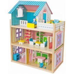 Dockhus Glory i trä med möbler Woodi World Toy