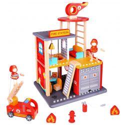 Brandstation leksak i trä med tillbehör Tooky Toy