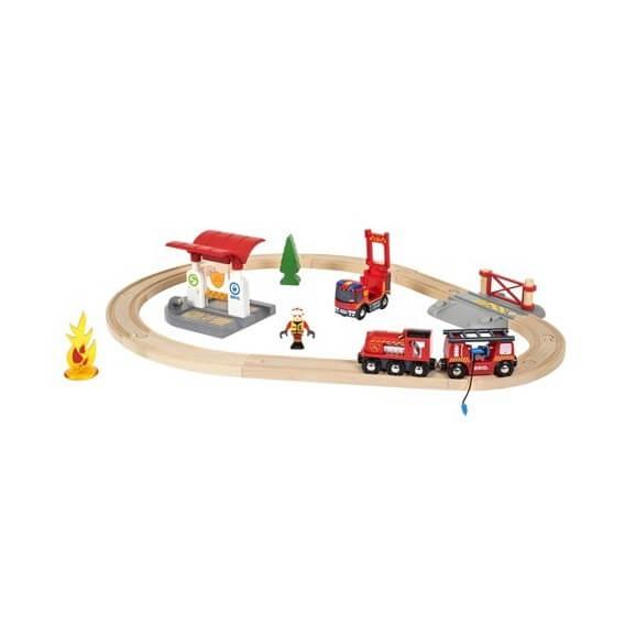 BRIO Tågset med brandmanstema
