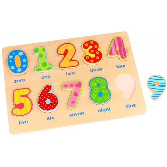 Träpussel figursågade siffror Tooky Toy