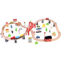 Tågset och träjärnväg 70 delar Tooky Toy