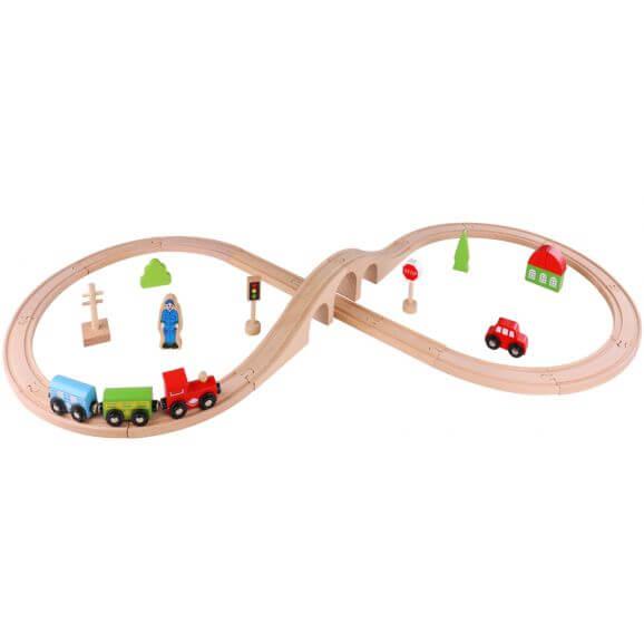 Tågbana i trä 30 delar för barn Tooky Toy