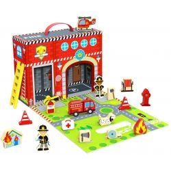 Leklåda, brandstation med tillbehör i trä, Tooky Toy
