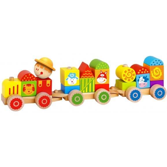 Tåg med bondgårdstema, stapelbart med träklossar, Tooky Toy