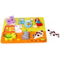 Träpussel med stora delar, Husdjur. Tooky Toy