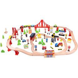Stort paket med trågbana i trä 100 delar, Tooky Toy