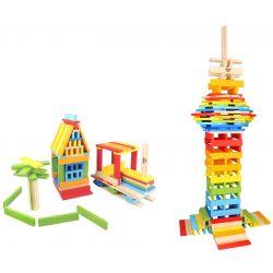 Kaplastavar i trä 150 delar. Bygg din egna stad Tooky Toy