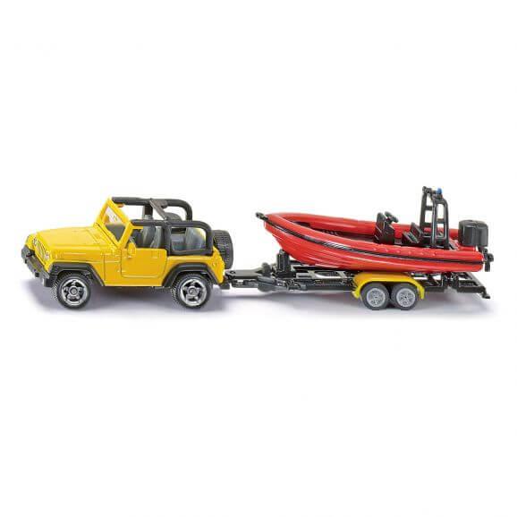 Siku Jeep Wrangler med båtsläp 1:87