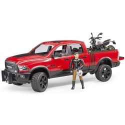 Bruder RAM 2500 Power Wagon med motorcykel och figur 02502
