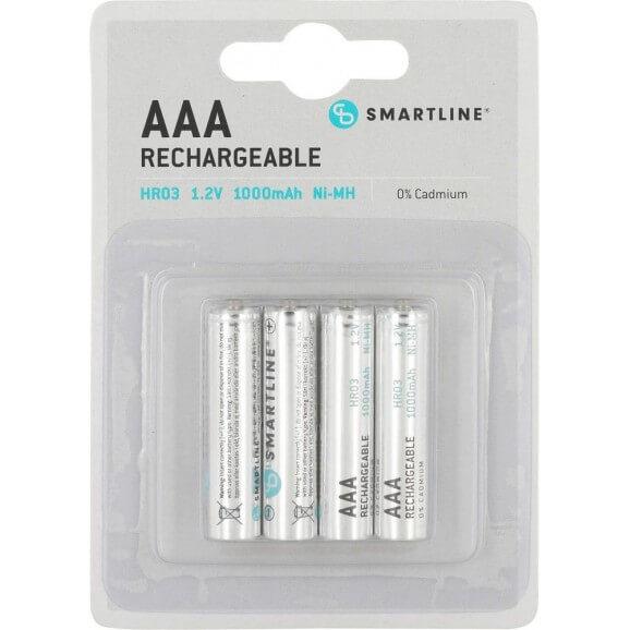 AAA 1,5 Volt Batterier. Uppladdningsbara. 4-pack.