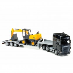 Scania low loader & grävmaskin, svart. Skala 1:25 efter orginal ritning
