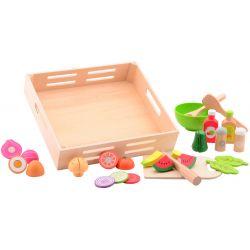 Jouéco® - Salladsset i trä med bricka, 29 delar leksaksmat