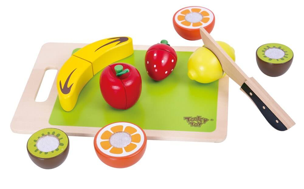 Läs mer om Delbara frukter med skärbräda, leksaksmat