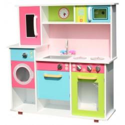 Större leksakskök möbel med spis och tvättmaskin