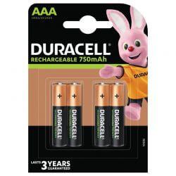 AAA, Uppladdningsbara Duracell Batterier Plus 750mAh. 4 st