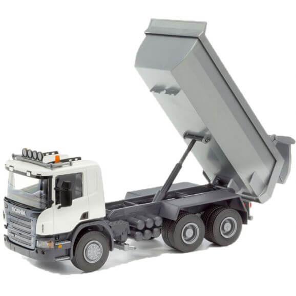 Scania tipplastbil vit EMEK 1:25