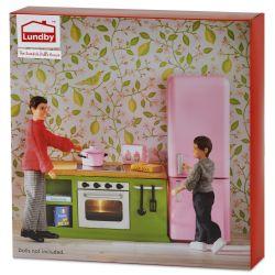 Lundby spis och kylskåp Grön och Rosa