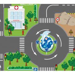 Lekmatta med LED Trafikljus till leksaksbilar Kids Globe
