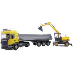 Scania trailer och grävmaskin. EMEK 1:25