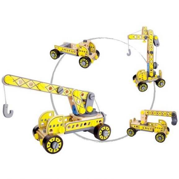 Tooky Toy Leksaksbil och kranbilar 4 i 1 leksak i trä