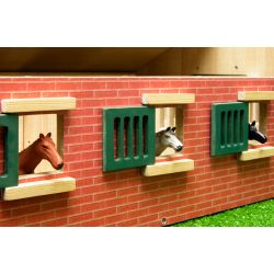 Kids Globe horse stable 62x42,5x22 cm with 9 horse boxes 1:32
