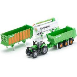 Deutz Fahr traktor med trailer set. Siku.
