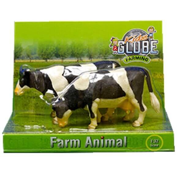 2 st. Kor av rasen Holstein. Kids Globe. Skala 1:32