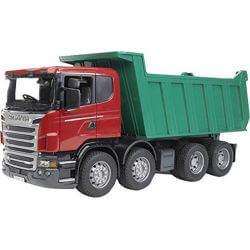 Scania R09 lastbil med tippflak. Bruder. Skala 1:16