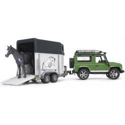 Jeep Landrover Defender med hästtransport. Bruder.